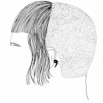 Drawing of a haircut without a face by Amy Pennington
