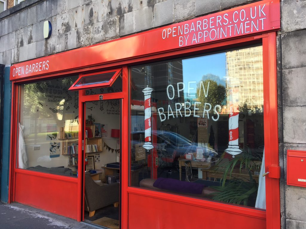 The front of the Open Barbers salon